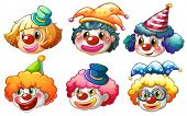 stock photo of clown face  - Illustration of the different faces of a clown on a white background - JPG