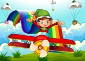 image of float-plane  - Illustration of a plane with an elf and a rainbow in the sky with parachutes - JPG