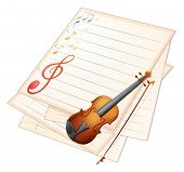 image of g-string  - Illustration of an empty paper with a violin and musical notes on a white background - JPG