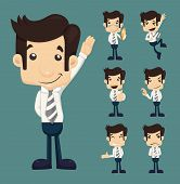 picture of caricatures  - Set of businessman characters poses eps10 vector format - JPG