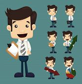 stock photo of lightbulb  - Set of businessman characters poses with charts eps10 vector format - JPG