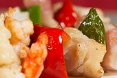 stock photo of cod  - Skewer fresh cod with grilled a vegetables