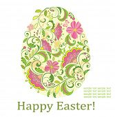 foto of pasqua  - Greeting card with decorative easter egg - JPG
