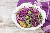 stock photo of christmas meal  - Red cabbage salad filled with nuts - JPG