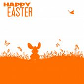 stock photo of white rabbit  - Easter Silhouette with bunny grass flower and butterfly vector isolated on white background - JPG