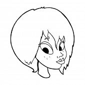 cartoon pretty female face pouting