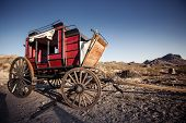 foto of wagon  - Old time horse drawn wagon in the desert town of Calico  - JPG