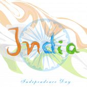 picture of ashoka  - Stylish text India in national tricolors on ashoka wheel background for Indian Independence Day celebrations - JPG