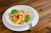 pic of chinese parsley  - Pasta with chicken basil and paprica red yellow - JPG