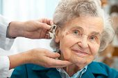 stock photo of hearing  - Doctor inserting hearing aid in senior - JPG