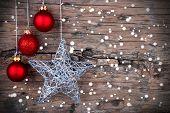 pic of christmas star  - Christmas Background with red Christmas Balls and a Silver Christmas Star and Snowflakes  - JPG