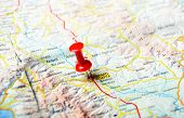 image of sparta  - Close up of Sparta Greece map with red pin - Travel concept
