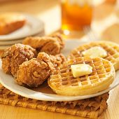 stock photo of sweet-corn  - chicken and waffles with corn bread  - JPG