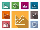 pic of graph  - Colorful flat graphs and charts set including bar graphs - JPG