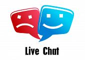 image of chat  - Live Chat icon with two speech bubbles with faces - JPG