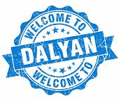 picture of dalyan  - welcome to Dalyan blue vintage isolated seal - JPG