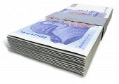 picture of british pound sterling note  - A stack of bundled British Pound Sterling banknotes on an isolated background - JPG