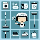 picture of maids  - Set of vector icons of maid and cleaning - JPG