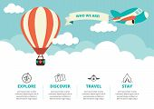 stock photo of float-plane  - Website layout with a hot air balloon - JPG