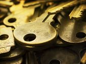 image of combination lock  - Many brass keys - JPG