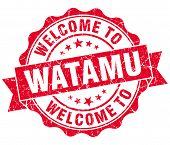 stock photo of watamu  - welcome to Watamu red vintage isolated seal - JPG
