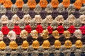 stock photo of knitwear  - bright handmade folklore knitwear ornament from Ukraine - JPG