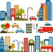 pic of city silhouette  - Vector illustration of a city street with colorful icons of cars trees and buildings - JPG