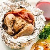 image of quail  - roast quail in the foil - JPG