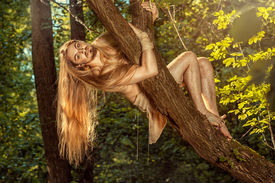 picture of tarzan  - Wild guy with long hair weighs on the tree in the forest - JPG