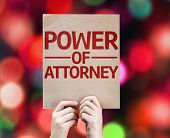 stock photo of mandate  - Power of Attorney card with colorful background with defocused lights - JPG