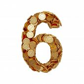 stock photo of golden coin  - 3d illustration of alphabet number digit six 6 with golden coins isolated on white background - JPG