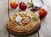 image of cream puff  - Open apple pie puff pastry with ice cream - JPG