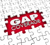 picture of gap  - Gap Coverage 3d words in a hole or blank space were puzzle pieces are missing to illustrate supplemental protection needed for your insurance policy - JPG