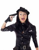 image of cap gun  - Portret of beautiful sexy policewoman committing suicide with gun in a black uniform - JPG