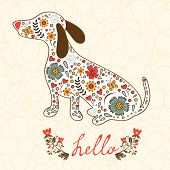 picture of badger  - Concept hello card with floral badger dog - JPG