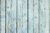 Old Weathered Light Blue Painted Fence Close Up. poster