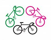 foto of tandem bicycle  - bicycle silhouettes on a white background - JPG