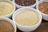 stock photo of quinoa  - amaranth  and other gluten free grains  - JPG
