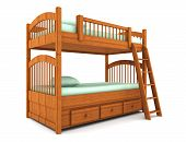 pic of bunk-bed  - bunk bed isolated on white background with clipping path - JPG