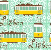 stock photo of tram  - Colorful seamless pattern with tipical Lisbon tram - JPG