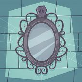 picture of creepy  - Cartoon illustration of the creepy retro mirror with skull - JPG