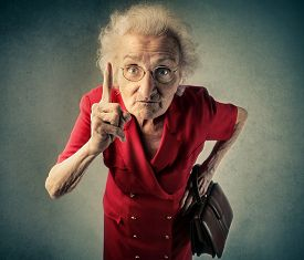 picture of grandma  - Angry grandma pointing out something  - JPG