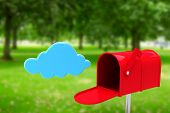 stock photo of postbox  - Red email postbox against park - JPG