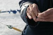 picture of ice fishing  - Fisherman - JPG