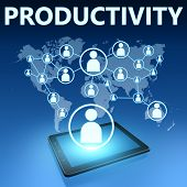 image of productivity  - Productivity illustration with tablet computer on blue background - JPG