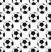 Watercolor seamless pattern with oldfashioned football ball on the white background, aquarelle. Vect poster