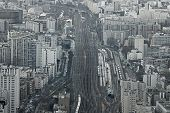 stock photo of gare  - Aerial view of railway system at Gare Montparnasse Paris France - JPG