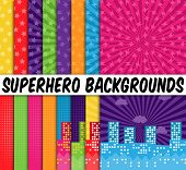 foto of superhero  - Collection of 16 Vector Superhero Themed Backgrounds - JPG