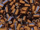 foto of capacitor  - Many 3D colorful and shiny metallic electrolytic capacitors - JPG
