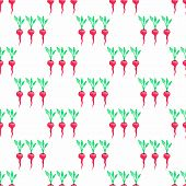 picture of radish  - Seamless watercolor pattern with radishes on the white background - JPG